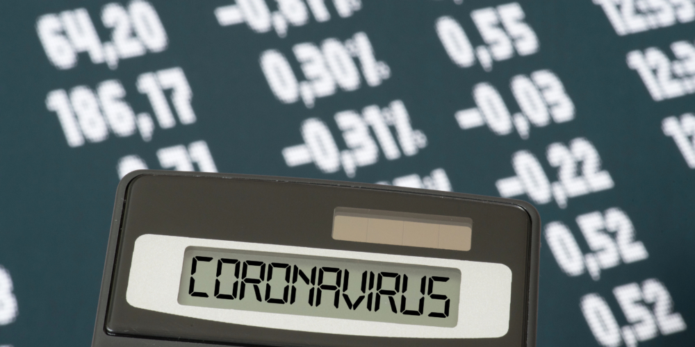 Stock exchange, calculator and coronavirus