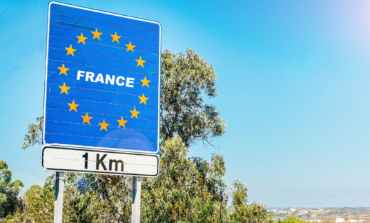 Road sign on the border of France as part of an European Union member state