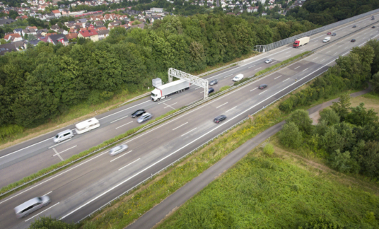 Highway and control gantry – aerial view