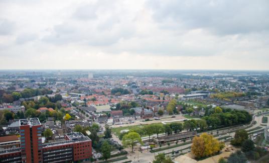 Tilburg, Netherlands – October 15, 2014: city view panorama