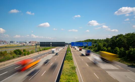 Autobahn highway with blurred trucks Frankfurt Germany