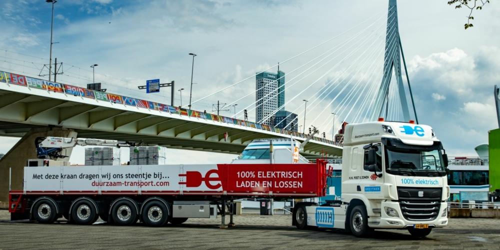 Elektrische truck – Rotterdam – Container 1 M – evergreen – Breytner – Post & zonen – Elektrisch – zero-emissie – truck – duurzaam – groen