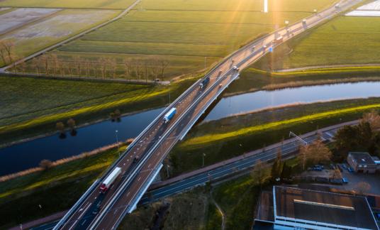Viaduct – A59 – near Waalwijk, Noord Brabant, – Snelweg – aerial – luchtfoto