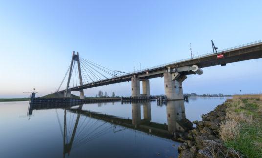 Eilandbrug suspension bridge over river IJssel in Overijssel, Netherlands