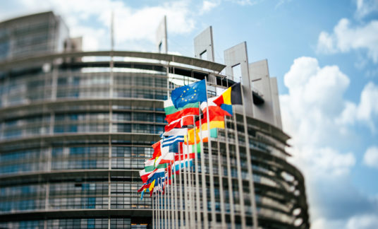 Flags in front of the European Parliament tilt-shift