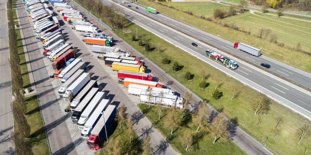 Aerial View of Semi Trucks at Highway Truck Stop