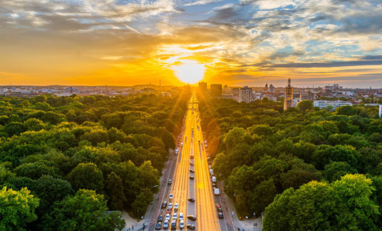 Berlin,Aerial View of Tiergarten park in Victory Column, Germany